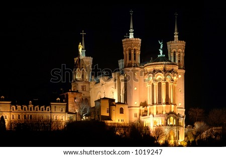 Fourviere Basilica in Lyon (France) - stock photo