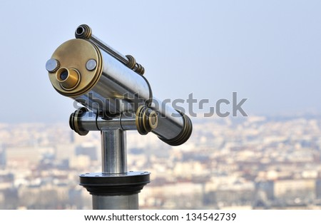 fourviers telescope viewpoint overlooking the city of lyon, france - stock photo