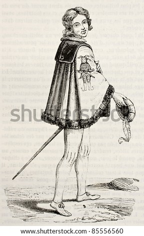 Fous order knight from Kleve, old illustration. By unidentified author after antique engraving, published on Magasin Pittoresque, Paris, 1842 - stock photo