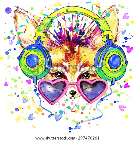 Fox and earphone T-shirt graphics. Fox illustration with splash watercolor textured  background. unusual illustration watercolor Fox and earphone for fashion print, poster, textiles, fashion design