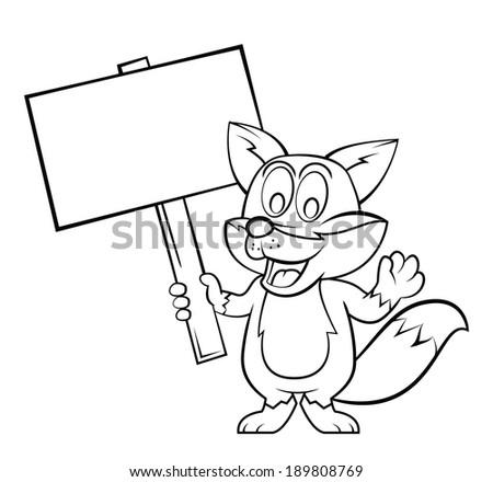 Fox cartoon - stock photo