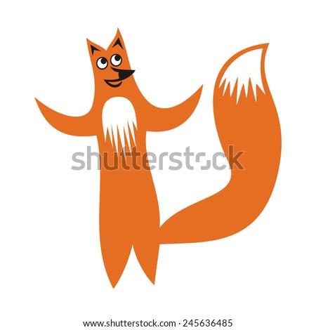 Fox cute cartoon illustration - stock photo