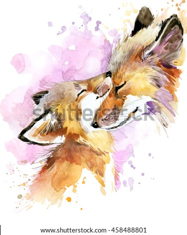 fox. fox and baby fox. fox family watercolor illustration. animal watercolor background