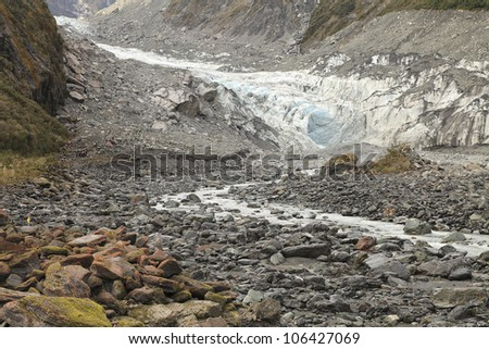 Fox glacier in the south island of new zealand - stock photo