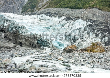 Fox Glacier in Westland National Park on the West Coast of New Zealand's South Island - stock photo