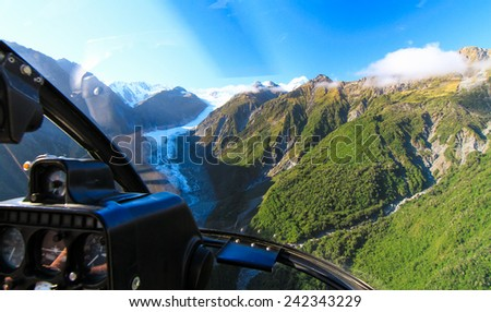 Fox Glacier Seen from a Helicopter, New Zealand - stock photo
