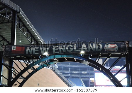 FOXBORO, MASS.- 2 Nov: A New England Revolution soccer team banner decorates Gillette Stadium in Foxboro, Mass. prior to a Major League Soccer playoffs game on 2 November 2013. - stock photo