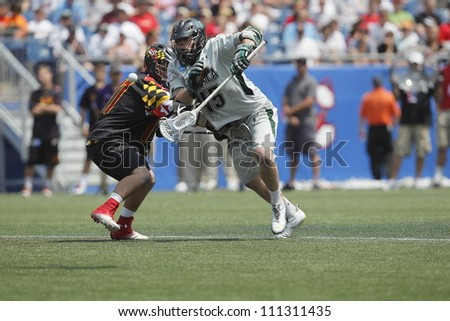 FOXBOROUGH - 28 MAY: J.P. Dalton (45), Loyola University Maryland, goes after the ball from the face-off at the NCAA Men's Division 1 Lacrosse Championship game, 28 May 2012 in Foxborough, Massachusetts