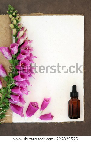 Foxglove flower border with medicinal dropper bottle on a natural hemp notebook and brown paper background. Digitalis pupurea. - stock photo