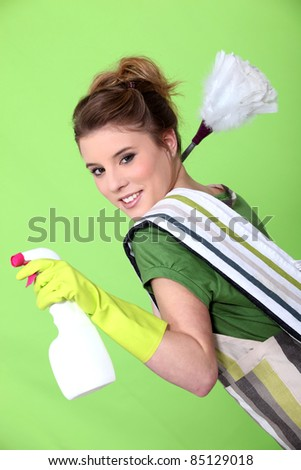 Foxy young cleaner - stock photo