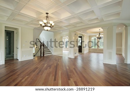 Foyer and living room - stock photo