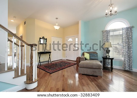 Foyer and living room in suburban home