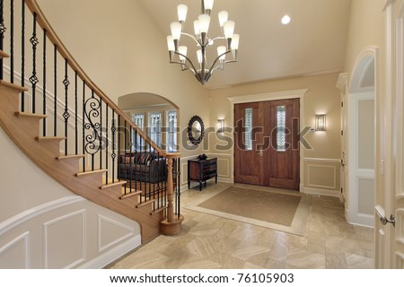 Luxury Home Foyer : Foyer luxury home curved staircase stock photo royalty free