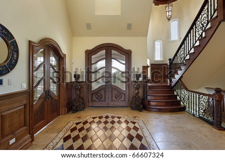 Foyer in luxury home with floor design - stock photo