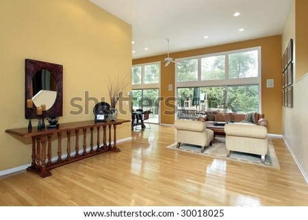 Foyer leading to living room - stock photo