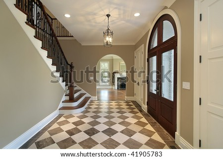 Foyer with checkerboard floor - stock photo