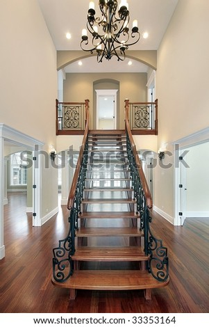 Foyer with long staircase - stock photo