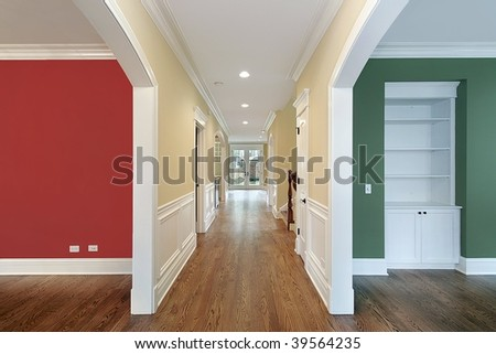 Foyer with multicolored walls - stock photo