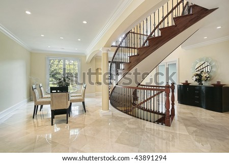 Foyer with open dining room area