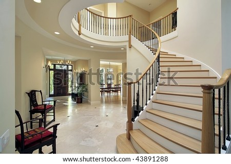 Foyer with oval second floor - stock photo