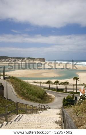 Foz do Arelho, The Lagoa de obidos, lagoon in the Portugal  west silver coast, bom sucesso - stock photo