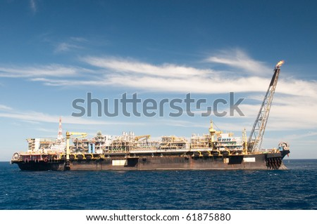 FPSO oil rig.  Coast of Brazil - stock photo