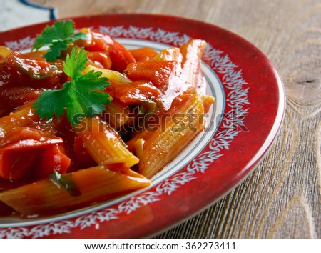 Fra diavolo sauce and penne pasta. tomato-based and use chili peppers for spice.Italian-American cuisine - stock photo