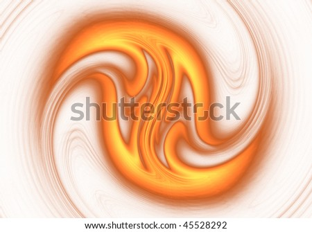 Fractal Abstract design of a Red and Gold Galaxy on white background - stock photo