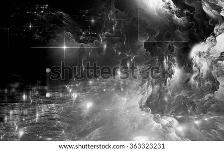 Fractal abstraction on a dark background. Glowing Star