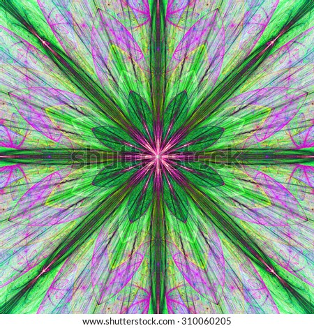 Fractal background with a large flower (star) with large beams in high resolution and dark vivid glowing green,pink