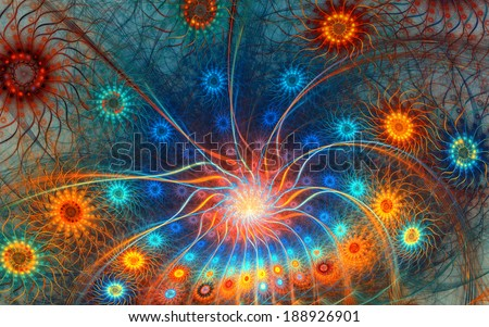 Fractal background with abstract peacock train shapes.  High detailed image.