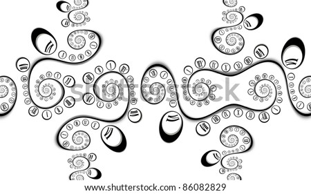 Fractal background with clock faces - stock photo
