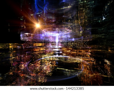Fractal City series. Abstract design made of three dimensional fractal structures and lights on the subject of technology, communications, education and science