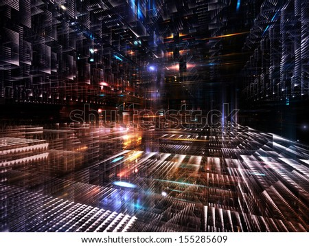 Fractal City series. Arrangement of three dimensional fractal structures and lights on the subject of technology, communications, education and science