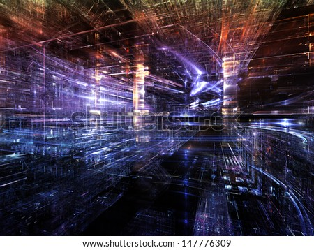 Fractal City series. Backdrop composed of three dimensional fractal structures and lights and suitable for use in the projects on technology, communications, education and science