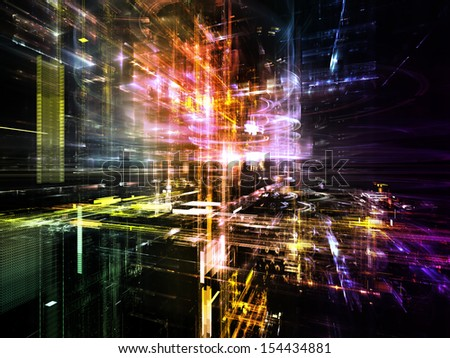Fractal City series. Composition of three dimensional fractal structures and lights suitable as a backdrop for the projects on technology, communications, education and science