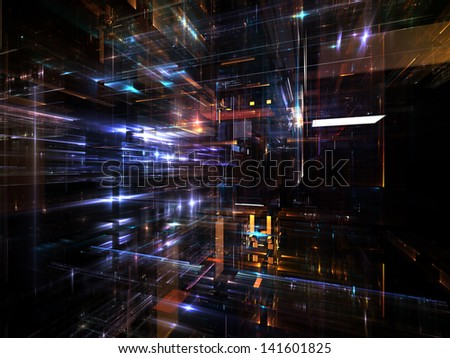 Fractal City series. Creative arrangement of three dimensional fractal structures and lights as a concept metaphor on subject of technology, communications, education and science