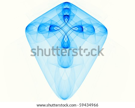 Fractal cross made of series of overlapping translucent shapes