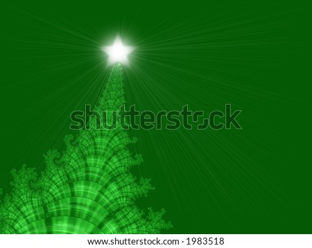 Fractal design that simulates a Christmas tree on an invitation or greeting card for the holidays - stock photo