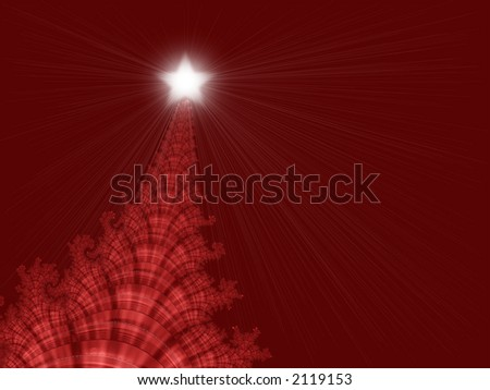 Fractal design that simulates a Christmas tree on an invitation or greeting card for the holidays