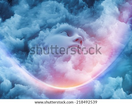 Fractal Dream series. Composition of human face and fractal textures suitable as a backdrop for the projects on mind, dreaming and imagination - stock photo