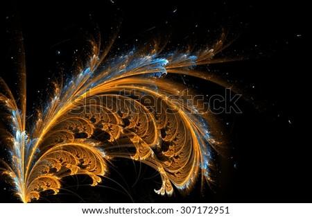 fractal feather background orange - stock photo