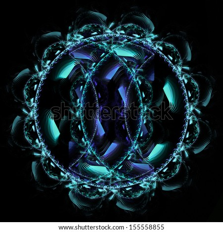 Fractal flame background. Blue and purple design element. - stock photo