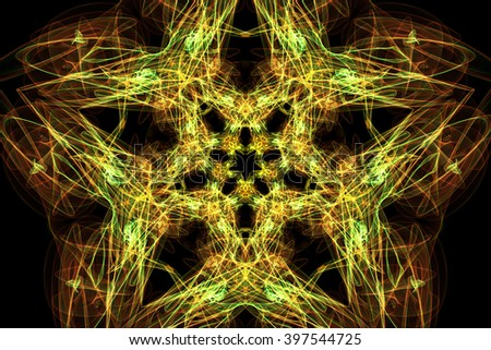 Fractal flower. Symmetrical abstract shapes and fractals. Digital artwork. - stock photo
