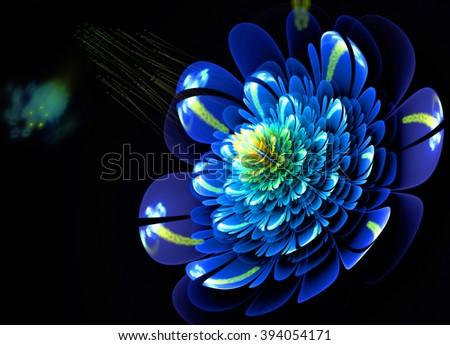 Fractal Flowers Blue Color - stock photo