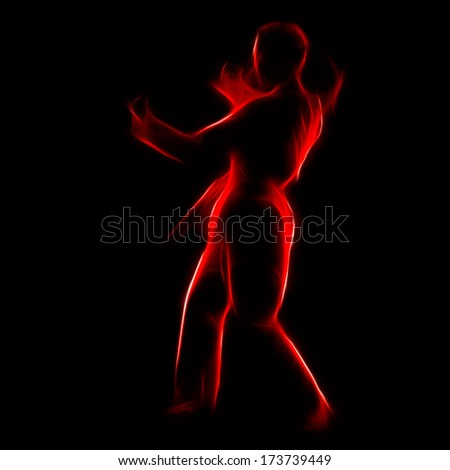 Fractal full-length silhouette portrait of beautiful martial arts girl in kimono excercising karate kata on black