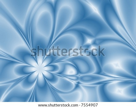 Fractal generated flowers in winter colors. - stock photo