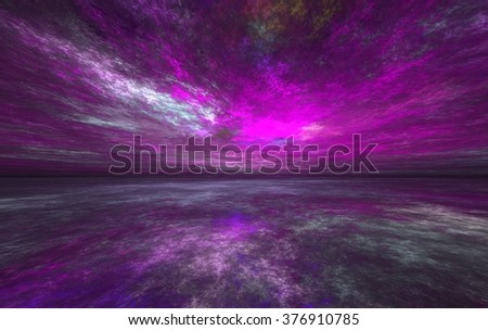 Fractal Horizons: Abstract world of the sky and land on an unknown planet  - stock photo