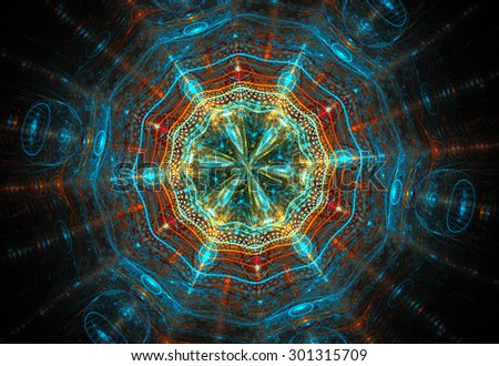 fractal illustration background with glass cosmic pattern - stock photo