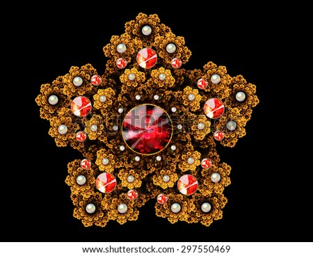 fractal illustration brooch with precious stones on a dark background - stock photo